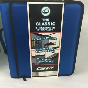 Case It Classic 3 Ring Zipper Binder 2 Blue Handle Strap School Couponing