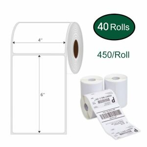 40 Rolls 450 Direct Thermal Shipping Barcode Labels 4x6 Zebra 2844 Zp450 Eltron