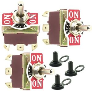 3 Toggle Switch W Waterproof Boot 32a 250vac Dpdt 6 Spade Terminal On off on