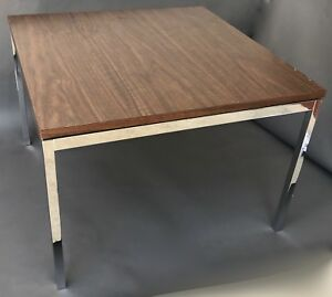 Florence Knoll T Angle Wood Laminate Chrome Side Or Coffee Table Ibm