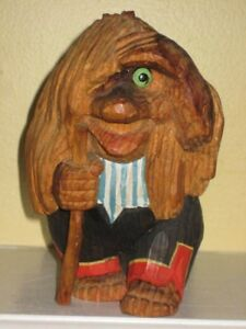 Vintage Henning Norway Folk Art Hand Carved Wood Troll With Cane 6 3 4