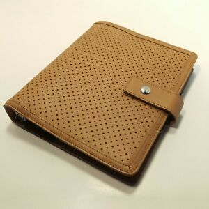 Franklin Covey Classic Tan Full Grain Leather Planner Binder Organizer