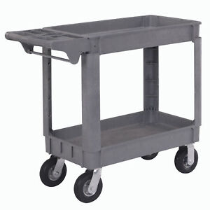 Small Deluxe 2 Shelf Plastic Utility Service Cart 6 Pneumatic Casters 40 l