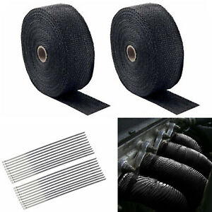 2 Roll X 2 50ft Exhaust Manifold Header Black Pipe Heat Wrap Tape 20 Ties Kit