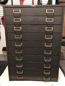 Vintage Cole Steel Industrial 10 Drawer Cabinet