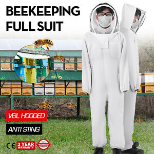 Beekeeping Protective Suit Full Veil hooded Anti Sting Protective Apiary Cotton