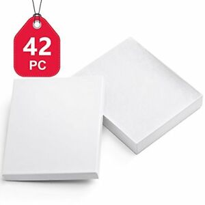 Mesha 42 Pcs Jewelry Boxes 6x5x1 Inches Gloss White Square Cardboard Boxes Br