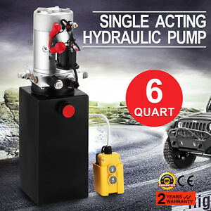 Single Acting Hydraulic Pump Dump Trailer 6 Quart Metal Reservoir Steel Tank 12v