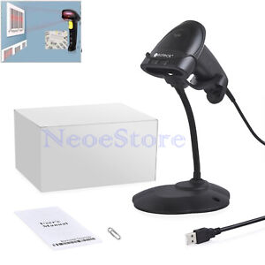 Handheld Laser Barcode Scanner Usb Continuous Barcode Scan Reader With Stand Pos