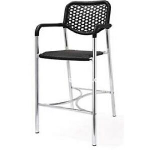 Stella Commercial Aluminum Outdoor Bar Stool With Plastic Wicker