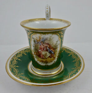 Dresden Cup Saucer Scenic Chocolate Size Donath Hand Painted Meissen Style