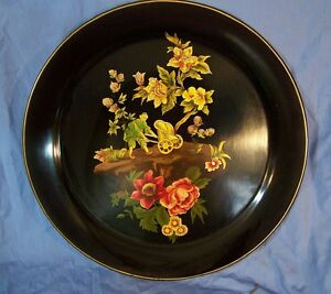 Antique Vintage Painted Tole Painted Toleware Tray Figure Flowers Nice