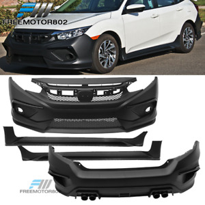 Fits 16 18 Honda Civic Concept Style Front Rear Bumper Cover Side Skirt Pair