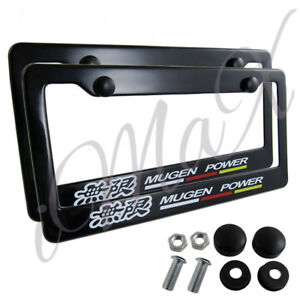 2pcs Jdm Mugen Black Abs License Plate Frame With Caps For Honda Civic Fit Acura
