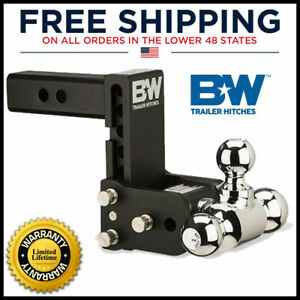 Ts10048b B w 5 Drop Tow Stow Adjustable Tri Ball Mount For 2 Receiver Hitch