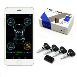 Car Bluetooth Tpms Andriod Ios Tire Pressure Monitor System 4 Internal Sensors