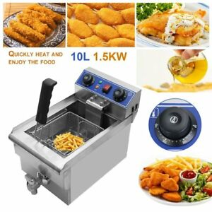 Commercial Restaurant Electric 11 7l Deep Fryer Stainless Steel W Timer Drain B
