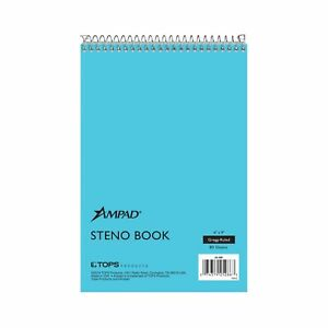 Ampad Steno Book 6 X 9 Gregg Rule Blue Paper And Cover 80 Sheets 12 Pa