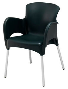 New Lola Commercial Stacking Aluminum Resin Outdoor Dining Chair Black