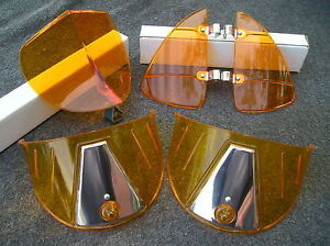 New Set Amber Vintage Style Hood Bug Vent Deflectors Head Lig
