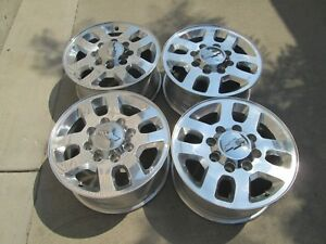 18 Chevy Gmc 2500hd Oem Factory Polished Wheels Rims With Caps