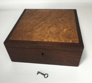 Antique Burlap Top Wooden Box With Working Key Document Box Dove Tailed