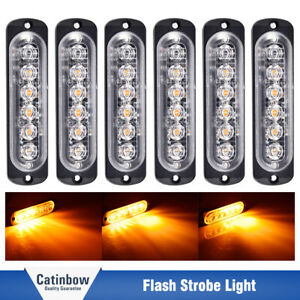 6pcs Amber 6led 18w Emergency Beacon Warning Hazard Flash Strobe Light Car Truck