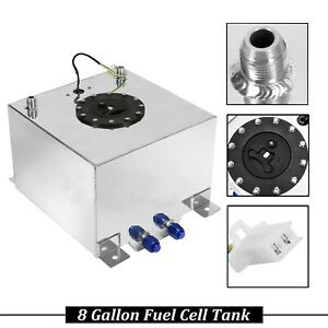 8 Gallon 30 5l Aluminum Level Racing Sender Drift Fuel Cell Gas Tank W Polished