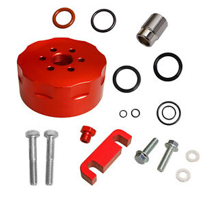 Red Fit 2001 2016 Chevy Duramax Cat Fuel Filter Adapter bleeder spacer seals Kit