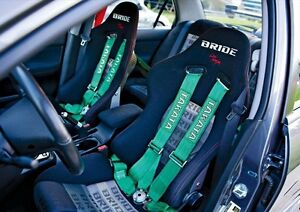Universal Green 4 Point Camlock Quick Release Racing Car Seat Belt Harness 2 7