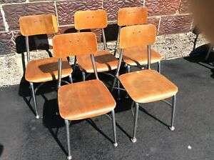 5 Same Vintage Heywood Wakefield Wood Chrome Small School Chairs Good