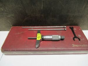 Starrett Model 440 Depth Micrometer With Accessories Case Pre owned