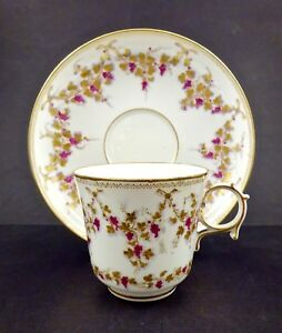 Antique Sevres Tea Cup Saucer Circa 1853 Hand Painted