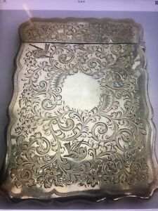 Antique Victorian Engraved Silver Card Case Birmingham George Unite 1897