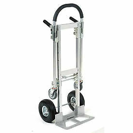 Aluminum 2 in 1 Convertible Hand Truck With Pneumatic Wheels Junior Lot Of 1