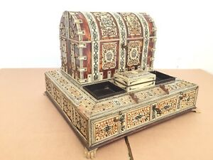 Antique 19th Early 20th C Anglo Indian Carved Horn On Sandalwood Desk Caddy Set
