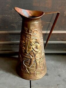 Vintage Embossed Brass Fireplace Ash Coal Scuttle Bucket Pitcher Made In England