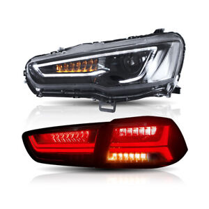 Audi Style Headlights Tail Lights Smoked For Mitsubishi Lancer evo X 2008 2017