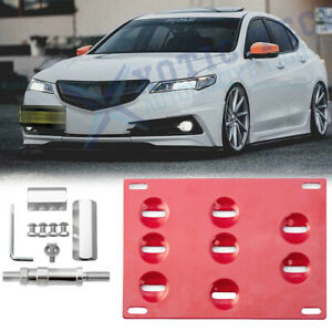 Red Front Bumper Tow Hook License Plate Mount Bracket For Honda S2000 Ap1 Ap2