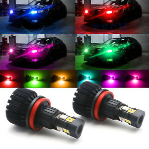 Smart Phone Control Wireless Multi color Rgb H8 H11 Led Bulbs For Fog Drl Lights