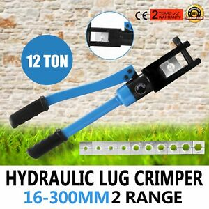 12 Ton Hydraulic Wire Terminal Crimper W 11 Dies Set Crimping Blue Tools Newest