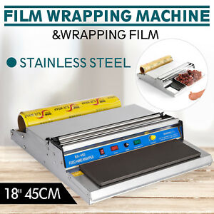 18 Food Tray Film Wrapper Wrapping Machine W film Sealer Stock Stainless Steel