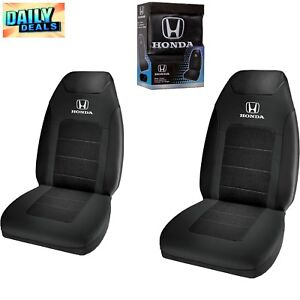 Honda Logo 2pc Black Highback Universal Sport Bucket Front Seat Covers Washable