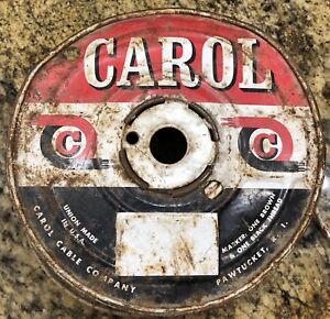 Vtg Carol 2 18 Gauge Copper Thermostat Wire White Red Stripe Cloth Insulation