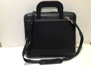 Franklin Covey Black Leather Monarch 7 ring Binder Briefcase Satchel Bag Nice