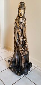 Antique Vintage Root Wood Carving Silkwood Kuanyin Guan Yin Statue Chinese Asian