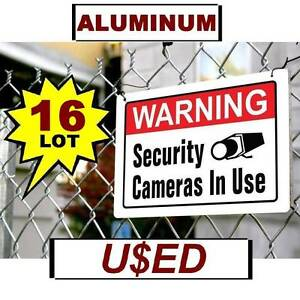 16 Scratch Dent Metal Warning Security Surveillance Video Cameras Yard Signs