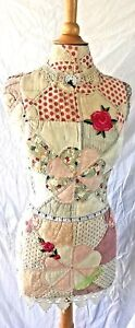 Vintage Custom Dress Maker Form Hand Sewn Quilt Wood Base Mannequin