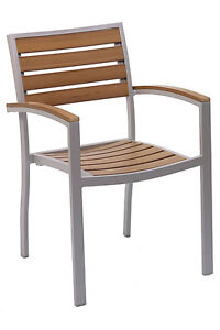 New Florida Seating Commercial Restaurant Outdoor Aluminum Teak Dining Chair