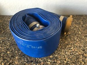 Blue Pvc Lay Flat Water Discharge Hose Assembly 3 X 20